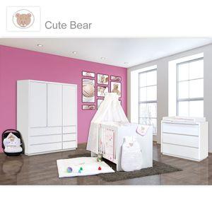 Babyzimmer Atlanta in Weiss 10 tlg. mit 3 türigem Kl. + Textilset von Cute Bear Rosa – Bild 1