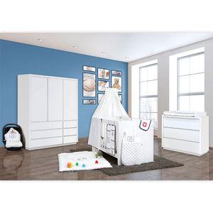Babyzimmer Atlanta in Weiss 10 tlg. mit 3 türigem Kl. + Textilset von Kleiner Matrose Blau – Bild 2