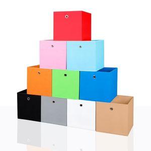 4er Set Faltbox in der Farbe Schwarz 34 x 34 cm Faltkiste Regalkorb Regalbox Kinderbox Einschubkorb Aufbewahrungsbox Stoffbox – Bild 1