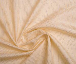 Übergardinenstoff in Cream Ton mit Goldenen Lametta streifen eingearbeitet – Bild 1