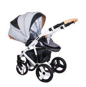 Kombikinderwagen 3 in 1 Babywanne Florino08 +  Sportwagen + Schale in Grau - Orange – Bild 2