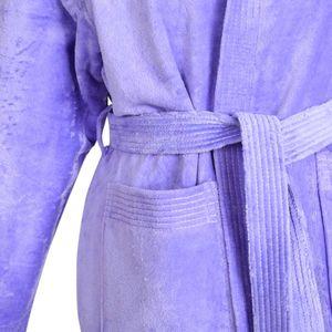 Damen Bademantel warm mit Kaputze kuschelig Wellness Sauna S-L - 100% Baumwolle Velour – Bild 9