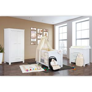 Babyzimmer Enni in weiss 19 tlg. mit 2 türigem Kl. + Textilien Memi Bear in der Farbe Beige – Bild 2