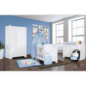 Hochglanz Babyzimmer Memi 19-tlg. mit Textilien Sleeping Bear in Blau – Bild 1