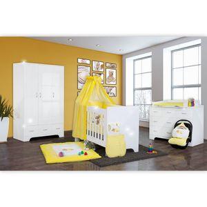 Hochglanz Babyzimmer Memi 19-tlg. mit Textilien Sleeping Bear in Gelb – Bild 1