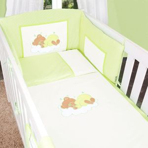 7-tlg. Bettsetpaket Sleeping Bear in grün inkl. Himmelstange und Spannbettlaken – Bild 5
