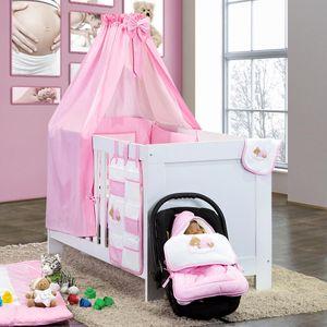 7-tlg. Bettsetpaket Sleeping Bear in rosa inkl. Fußsack und Wickelauflage – Bild 1
