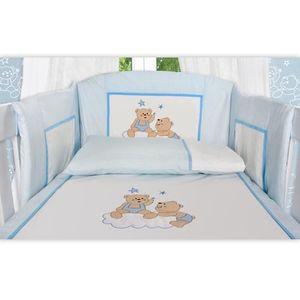 8-tlg. Bettsetpaket Joy in blau inkl. Himmelstange, Babybettdecke und Kissen – Bild 3