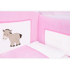 8-tlg. Bettsetpaket Prestij in rosa inkl. Betttasche, Babybettdecke und Kissen – Bild 3