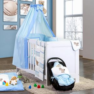 8-tlg. Bettsetpaket Prestij in blau inkl. Wickelauflage, Babybettdecke und Kissen – Bild 1