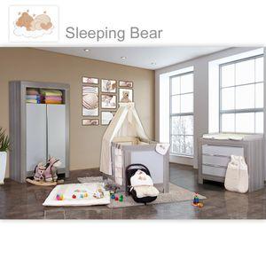 Babyzimmer Felix in akaziengrau 10 tlg. mit 2 türigem Kl. + Sleeping Bear beige – Bild 1