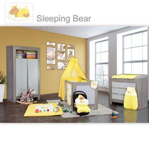 Babyzimmer Felix in akaziengrau 10 tlg. mit 2 türigem Kl. + Sleeping Bear gelb – Bild 1