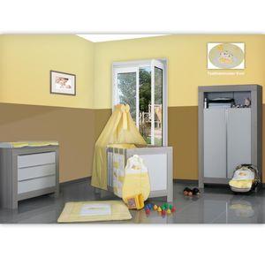 Babyzimmer Felix in akaziengrau 10 tlg. mit 2 türigem Kl. in Enni Bear gelb – Bild 1