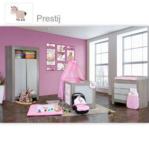 Babyzimmer Felix in akaziengrau 10 tlg. mit 2 türigem Kl. in Prestij rosa – Bild 1