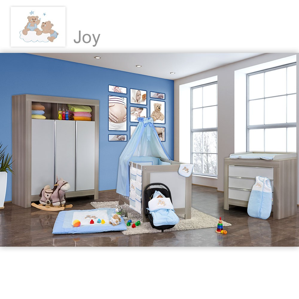 babyzimmer felix in akaziengrau 10 tlg mit 3 t rigem kl set joy blau baby m bel babyzimmer felix. Black Bedroom Furniture Sets. Home Design Ideas