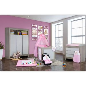 Babyzimmer Felix in akaziengrau 10 tlg. mit 3 türigem Kl. + Set Memi Bear Rosa – Bild 2