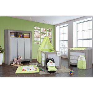 Babyzimmer Felix in akaziengrau 10 tlg. mit 3 türigem Kl. + Set Memi Bear Grün – Bild 2