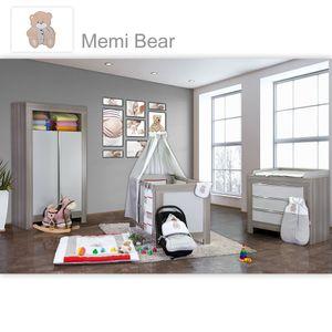Babyzimmer Felix in akaziengrau 10 tlg. mit 2 türigem Kl. + Memi Bear Grau – Bild 1
