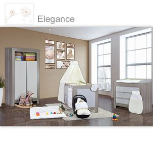 Babyzimmer Felix in akaziengrau 10 tlg. mit 2 türigem Kl. + Set Elegance – Bild 1
