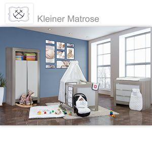 Babyzimmer Felix in akaziengrau 10 tlg. mit 2 türigem Kl. + Set Kleiner Matrose Blau – Bild 1