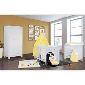 Babyzimmer Enni in weiss 10 tlg. mit 2 türigem Kl. + Textilien von Little Bear in Gelb – Bild 2