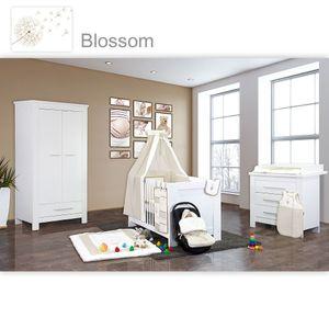 Babyzimmer Enni in weiss 10 tlg. mit 2 türigem Kl. + Textilien von Blossom in Beige – Bild 1