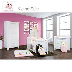 Babyzimmer Enni in weiss 9 tlg. mit 2 türigem Kl. + Textilien von Kleine Eule in Rosa – Bild 1