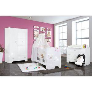 Hochglanz Babyzimmer Memi 19-tlg. mit Textilien von Cute Bear in Rosa – Bild 1