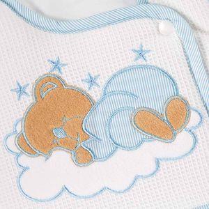 Babyzimmer Yves 19-tlg. mit 2 türigem Schrank + gr. Bett, Textilset Sleeping Bear in Blau – Bild 9