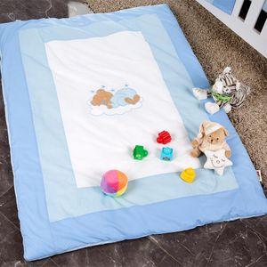 Babyzimmer Yves 19-tlg. mit 2 türigem Schrank + gr. Bett, Textilset Sleeping Bear in Blau – Bild 16