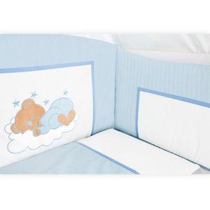 Babyzimmer Yves 19-tlg. mit 2 türigem Schrank + gr. Bett, Textilset Sleeping Bear in Blau – Bild 5