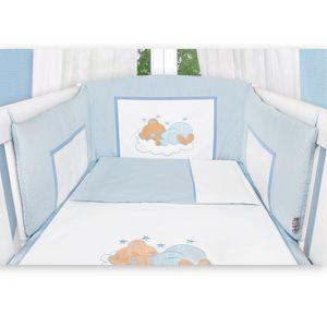Babyzimmer Yves 19-tlg. mit 2 türigem Schrank + gr. Bett, Textilset Sleeping Bear in Blau – Bild 4