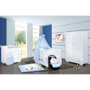 Babyzimmer Yves 19-tlg. mit 2 türigem Schrank + gr. Bett, Textilset Sleeping Bear in Blau – Bild 1