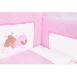 Babyzimmer Yves 19-tlg. mit 2 türigem Schrank + gr. Bett, Textilset Sleeping Bear in Rosa – Bild 5