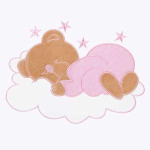 Babyzimmer Yves 19-tlg. mit 2 türigem Schrank + gr. Bett, Textilset Sleeping Bear in Rosa – Bild 6