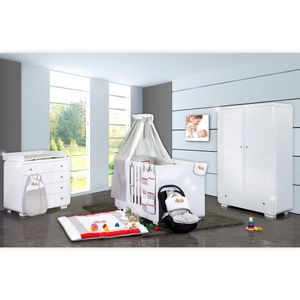 Babyzimmer Yves 19-tlg. mit 2 türigem Schrank + gr. Bett, Textilset Sleeping Bear in Grau – Bild 1