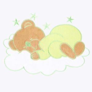 Babyzimmer Yves 19-tlg. mit 2 türigem Schrank + gr. Bett, Textilset Sleeping Bear in Grün – Bild 6