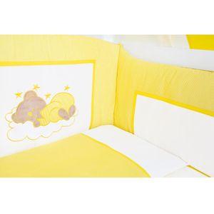 Babyzimmer Yves 19-tlg. mit 2 türigem Schrank + gr. Bett, Textilset Sleeping Bear in Gelb – Bild 5
