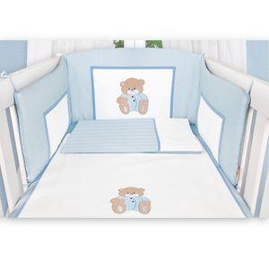 Babyzimmer Yves 19-tlg. mit 2 türigem Schrank + gr. Bett, Textilset Memi in Blau – Bild 4