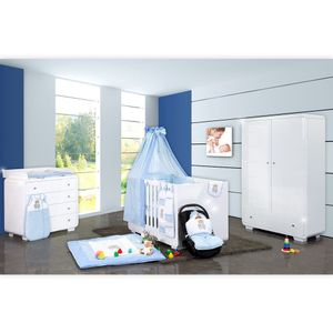 Babyzimmer Yves 19-tlg. mit 2 türigem Schrank + gr. Bett, Textilset Memi in Blau – Bild 1