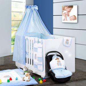 Babyzimmer Yves 19-tlg. mit 2 türigem Schrank + gr. Bett, Textilset Memi in Blau – Bild 2