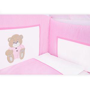 Babyzimmer Yves 19-tlg. mit 2 türigem Schrank + gr. Bett, Textilset Memi in Rosa – Bild 5