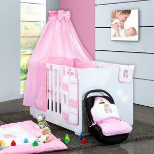 Babyzimmer Yves 19-tlg. mit 2 türigem Schrank + gr. Bett, Textilset Memi in Rosa – Bild 2