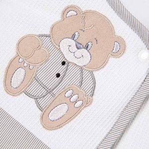 Babyzimmer Yves 19-tlg. mit 2 türigem Schrank + gr. Bett, Textilset Memi in Grau – Bild 9