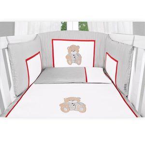 Babyzimmer Yves 19-tlg. mit 2 türigem Schrank + gr. Bett, Textilset Memi in Grau – Bild 4