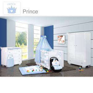 Babyzimmer Yves 19-tlg. mit 2 türigem Schrank + gr. Bett, Textilset Prince Blau – Bild 1