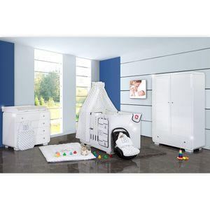 Babyzimmer Yves 19-tlg. mit 2 türigem Schrank + gr. Bett, Textilset von Kleiner Matrose in Blau – Bild 2