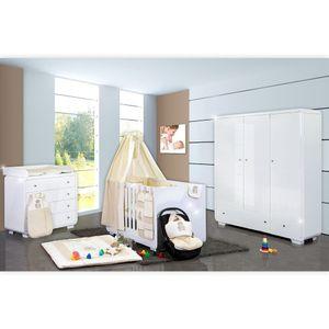 Babyzimmer Yves 21-tlg. mit 3 türigem Schrank + kl. Bett, Set Memi Bear Beige – Bild 1