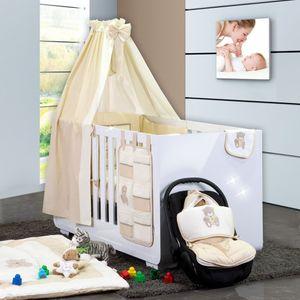 Babyzimmer Yves 21-tlg. mit 3 türigem Schrank + kl. Bett, Set Memi Bear Beige – Bild 2