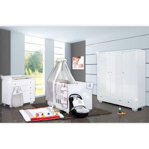 Babyzimmer Yves 21-tlg. mit 3 türigem Schrank + kl. Bett, Set Memi Bear Grau – Bild 1